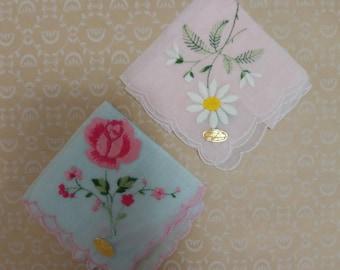 Pair of Vintage Floral Handkerchiefs