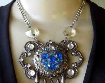 Theatrical Vintage Blue Rhinestone Baroque-Style Pendant Necklace