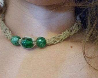 Green Glass hemp choker