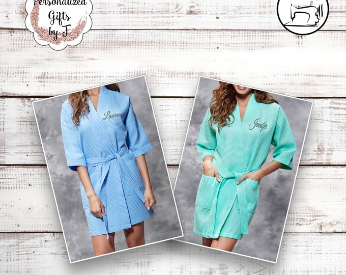 Personalized Bridesmaid Robes Set of 7 Monogrammed Robe Waffle Robe Bridesmaids Gift Ideas Sorority Sister Gifts Girls Weekend Getting Ready