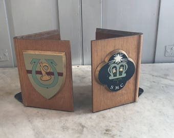 Pair vintage wooden bookends book ends with coat of arms decoration