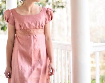 Regency Dress, Reenactment Costume, Tea Dress, Vintage Saree, Misses 2