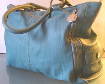 Innue Made in Italy Huge  Teal Blue Leather Tote Bag