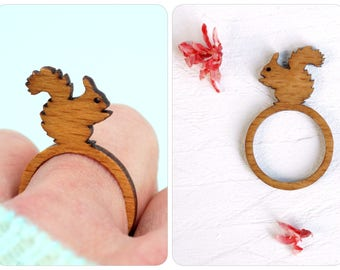 squirrel wooden ring,  squirrel, animal ring, laser cut ring, wood ring, squirrel gift, gift animal lovers, laser cut wood, squirrel jewelry
