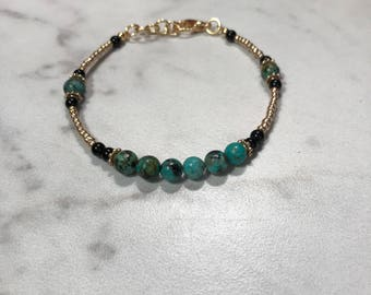 Afghani Turquoise and gold bracelet