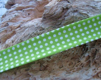 1 M through Green Apple with white dots width 20mm for jewelry Creations