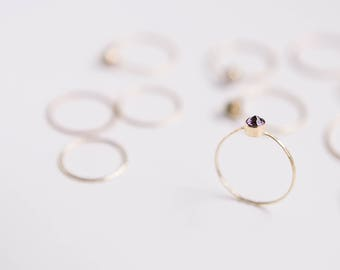 Amethyst Ring | February Birthstone | 14K Gold Filled | Stacking Ring | Minimalist Ring | Gift For Her | Thin Ring | Dainty Gift For Her