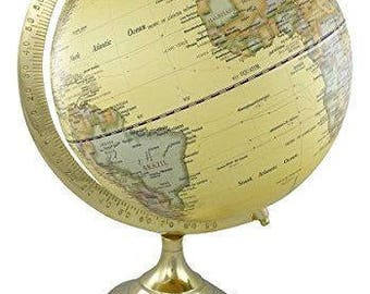 Noble globe on wooden stand H 34 cm brass frame antique design