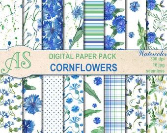 Digital Watercolor Cornflowers Seamless Paper Pack, 16 printable Digital Scrapbooking papers, floral Collage, Instant Download, set 361