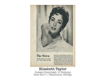 Elizabeth Taylor from 1959's copy of Photoplay Annual / Digital Download