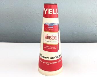 Winston Taste Good Like A Cigarette Should Collectible Megaphone, Theater Movie Prop, 1950s 1960s Man Cave Decor
