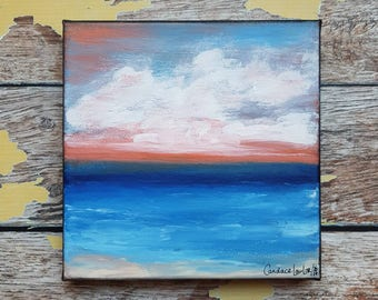 "Seascape Canvas Art | Coastal Painting | Ocean Art | Beach Decor | 6x6 | ""Autumn Evening"" 