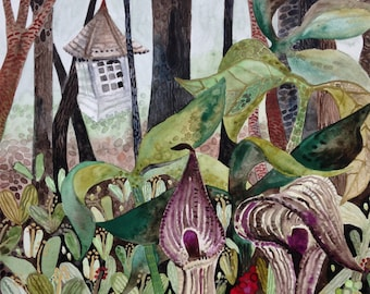 "Art Print Original Watercolor Springtime ""Riot"" with Jack-in-the-Pulpit"