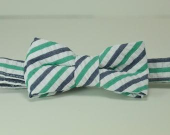 Navy and Green Seersucker Stripe Boy's Bow Tie, Ring Bearer Bowtie, Toddler, Baby