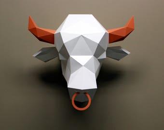 Simon the Bull- Papercraft, DIY Kit, Animal Head, Wall Decor, Cowboy Wall Decor, Low Poly, DIY Paper Sculpture, 3D Papercraft, Paper Trophy