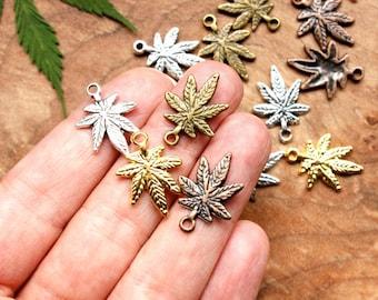 20 Assorted Finish Cannabis Leaf Shaped Charms - 15mm x 21mm - Lead-Free Zinc Alloy - Ganja, Weed, Marijuana, Maryjane, 420, Pot, MMJ
