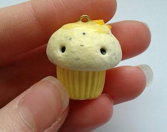 Polymer clay poppy seed and lemon cupcake