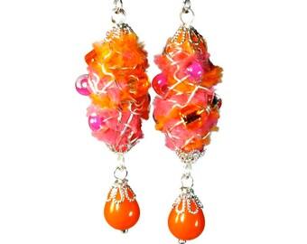Yummy Neon Orange Earrings, Orange Dangle Earrings, Fiber Art, Pink and Orange, Wearable Art Dangle Earrings