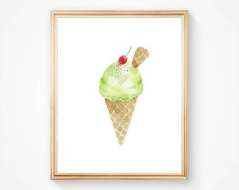 Ice Cream Art - Watercolor Art Print - Lime Ice Cream Cherry on Top - Food Art Print - Kitchen Art - Summer - Home Decor - Various Sizes