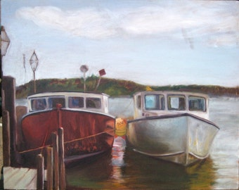 Edgartown Harbor Boats Oil Painting on Martha's Vineyard