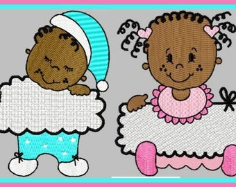 2 adorable baby girl and boy for immediate download