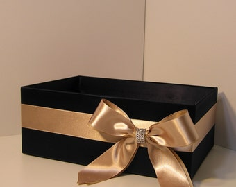 Wedding  Program Box Black nd Champagne Amenities Box Bathroom Accessories Box handkerchiefs Box - Customize your color