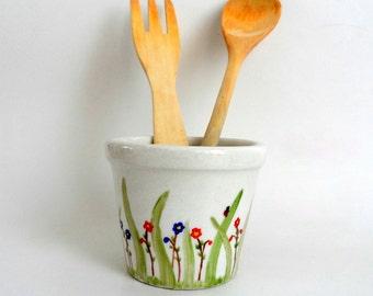 Spring Garden -Hand Painted  Mini Pot, Cup,  planter,  pen holder , home decor