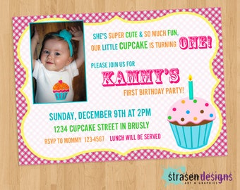 Cupcake Birthday Invitation 5x7 or 4x6 Printable DIY