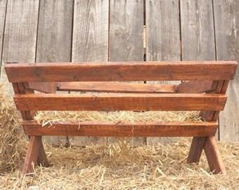 Outdoor Wooden Manger - Large Christmas Manger - Life-Size Nativity Scene - Christmas Yard Decorations - Mahogany - Christmas Tree