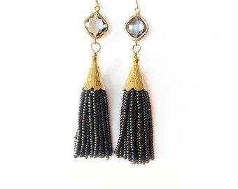 Gray Beaded Tassel Earrings with Smokey Gray Framed Gemstone-Boho Tassel-Beaded Tassel Earrings-Dangle Tassel Jewelry-Gold Tassel Earrings