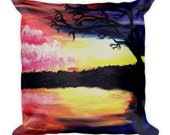 Evening Reflections Square Pillow