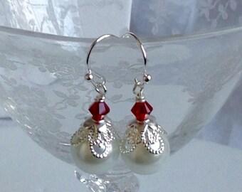 White Pearl and Crystal Garnet Bridal Bridesmaid Earrings
