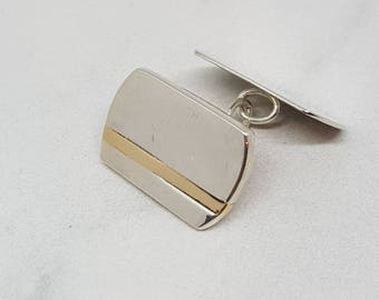 Carlos by Fedha - sterling silver cufflinks with solid gold inlay