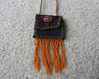 Handmade, stitched, real leather pouch necklaces with stone and tassels