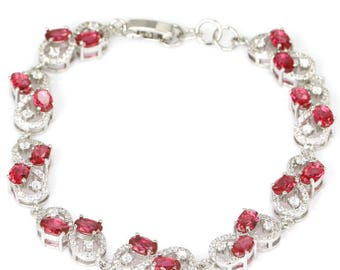 Sterling Silver Pink Raspberry Rhodolite Garnet Gemstone Bracelet With AAA CZ Accents