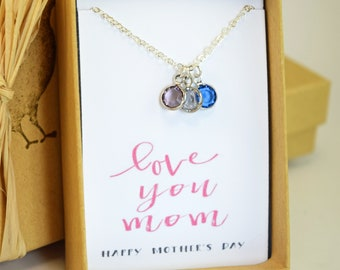 Mothers Day Gift, Mom Birthstone Charm Necklace, Mothers Necklace, Gift for Mom, Jewelry, Grandmother Necklace, Gift for Grandma