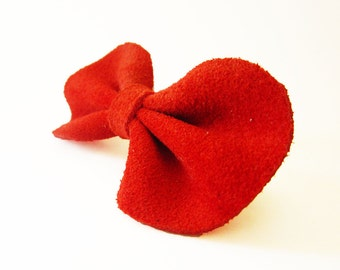 Red suede hair bow barrette, red hair bow, suede leather hair bow barrette, red hair clip, Red bow barrette, Cute red hair bow