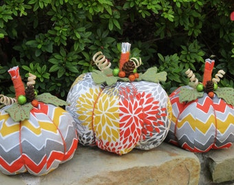 Funky Fabric Pumpkin Trio-Fall Home Decor-Autumn Decorationg-Thanksgiving Pumpkins-Large Set of 3-Housewarming Gift-Tabletop-Homemade