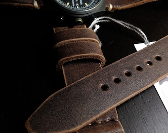 20mm Handmade Dk Brown Genuine Leather Watch Band / Strap