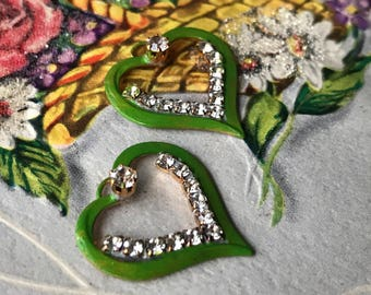 Rhinestone Hearts, Vintage Rhinestone Heart Charms, patina Brass hearts charm, Rhinestone hearts, Love, valentines day, #1025W