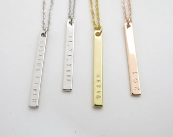 Custom Necklace Customized NECKLACE Personalized Gift Bar Necklace Gift for Mom Sister Gift Bridesmaid Gift Gold Bar Necklace Name Necklace