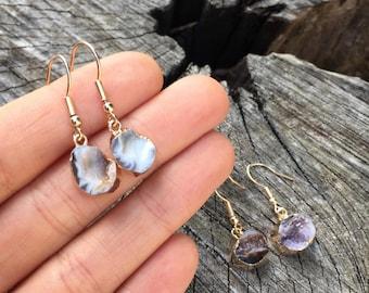 Geode earrings, crystal earings, gold dipped, gemstoneearrings, druzy earrings