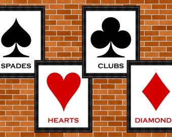 Playing Card Suit Prints, Printable Playing Card Art, Poker, Game Prints, Man Cave Art, Spades, Hearts, Clubs, Diamonds, Gambling Printable