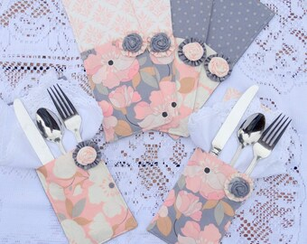 Set of {6} Six Cutlery Pockets, Silverware Holder, Flatware Holder, Dining, Table Settings, Floral, Free USA Shipping
