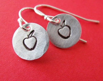 hand stamped silver apple earrings