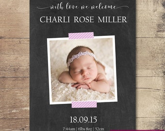Printable Chalkboard Taped Photo Birth Announcement / Customisable Digital File / JPG or PDF / Pink, Black, White