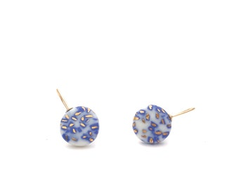 Speckle porcelain earrings, ceramic jewelry, blue and white earrings, porcelain jewelry, bridesmaid gift, minimalist jewelry, Delft Blue