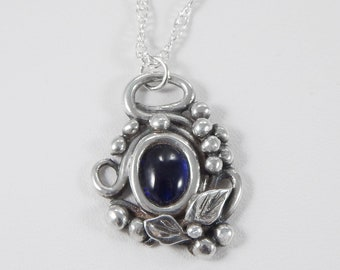 Fine Silver Sapphire Pendant. Sapphire Necklace. Filigree Necklace. Precious Metal Clay. PMC. Oxidized Silver. Sapphire Necklace.