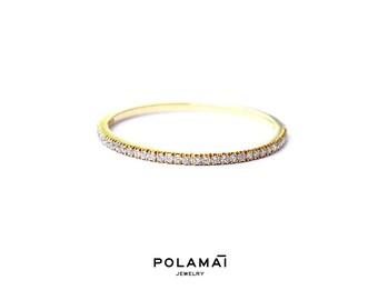 Diamond Eternity Ring 1.2mm 18k . Micro Pave Eternity Ring . Full or Half Eternity . Wedding Band Thin Diamond Ring. Yellow White Rose Gold