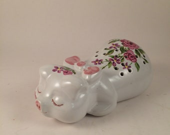 Vintage Avon Ceramic Pig ...Pomander, potpourri, 1978... Made in Brazil..Hand decorated with pink spring flowers